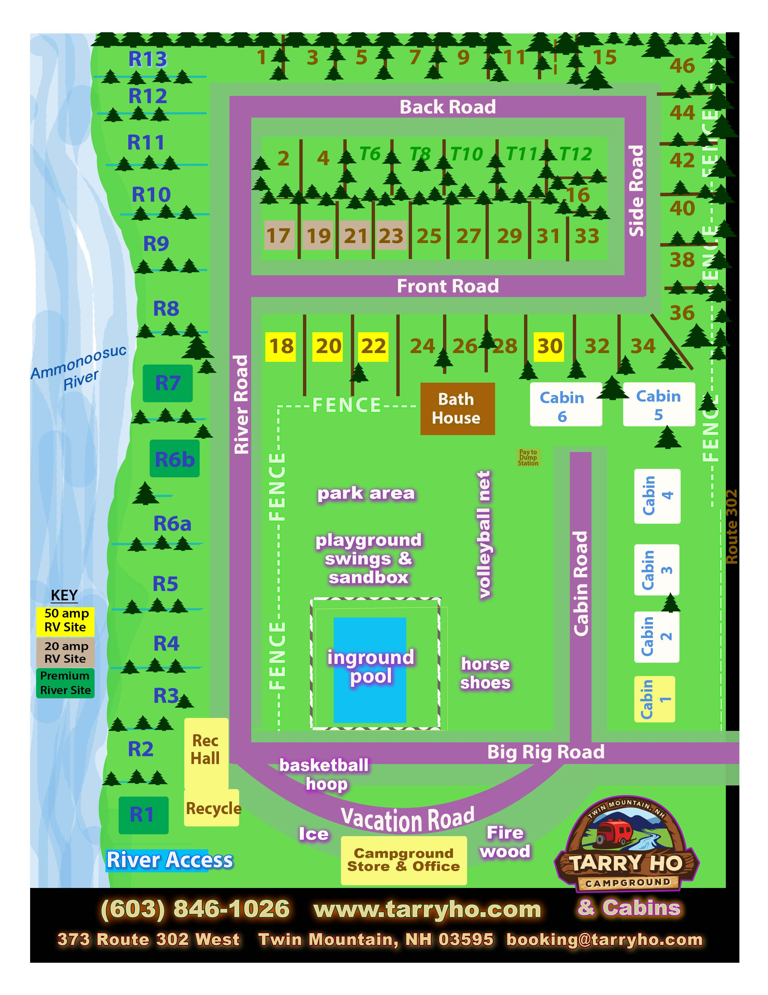 Cottages amp campground rentals riverview cottages campground jackman - Reserve Your Spot Call 603 846 1026 Click To View Tarry Ho Campground Map